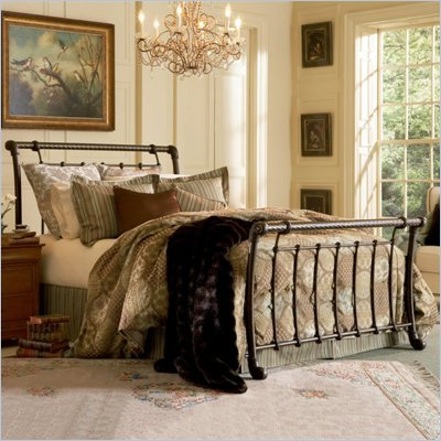 Fashion Bed Group Legion Metal Sleigh Bed in Ancient Gold