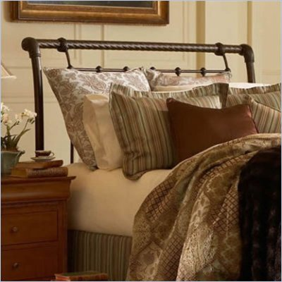 Fashion Bed Group Legion Metal Sleigh Headboard in Ancient Gold