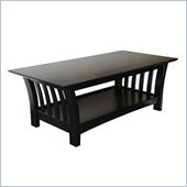Elite Products Florenzia Rectangle Wood Top Coffee Table in Black Finish