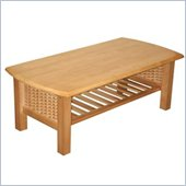 Elite Products Bentley Golden Oak  Rectangle Wood Coffee Table with Magazine Shelf