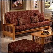 Elite Products Bridgeport Full Size Wood Futon Frame in Golden Oak