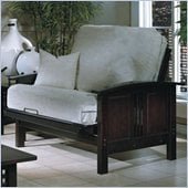 Elite Products Hermosa Junior Twin Wood Futon Chair Frame and Ottoman