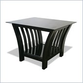 Elite Products Milan Black End Table with Glass Top