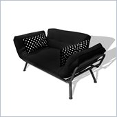 Elite Products Mali Convertible Futon Sofa with Pewter Frame in Black/Polka Dot