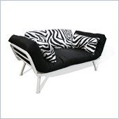 Elite Products Mali Convertible Futon Sofa with White Frame in Zebra/Black