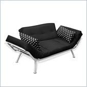 Elite Products Mali Convertible Futon Sofa with White Frame in Black Polka Dot