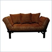 Elite Products Hudson Convertible Futon Sofa in Chocolate