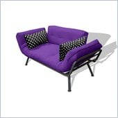 Elite Products Mali Futon in Purple and Black Polka-Dot 