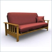 Elite Products Mead Full Size Futon Frame in Medium Oak
