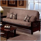 Elite Products Bridgeport Full Size Wood Futon Frame in Dark Walnut