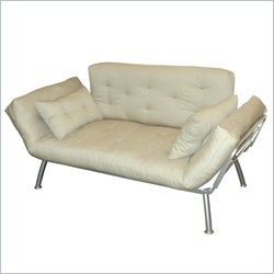 Elite Products Mali Convertible Twin Futon with Silver Metal Frame