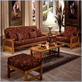 Elite Products Bridgeport Futon Set in Golden Oak Finish