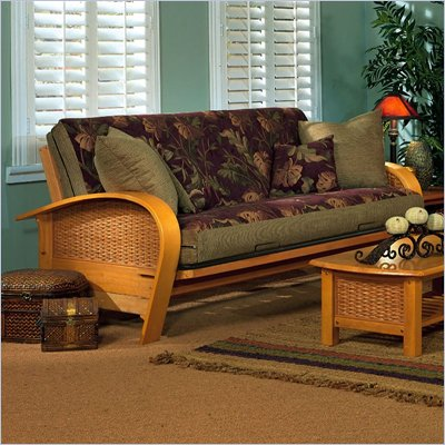 Elite Products Bentley Full Size Futon Frame in Oak