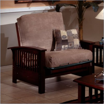 Elite Products Bridgeport Junior Twin Walnut Futon Chair Frame