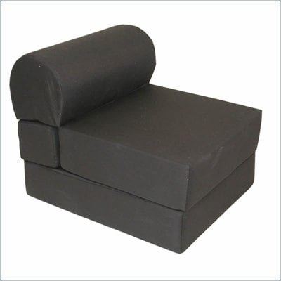 Elite Jr. Twin Foam Poly Cotton Studio Sleeper Chair in Black