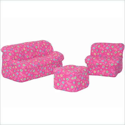 Elite Pink Flower Children's 3-Piece Foam Sofa Set