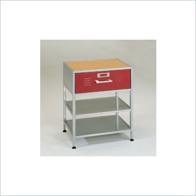 Elite Products Locker 3 Tier Single-Drawer Nightstand with 2 Open Shelves