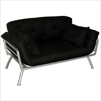 Elite Products Mali Convertible Twin Futon with Pewter Metal Frame