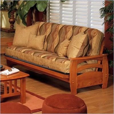 Elite Products Montego Full Oak Wood Futon Frame
