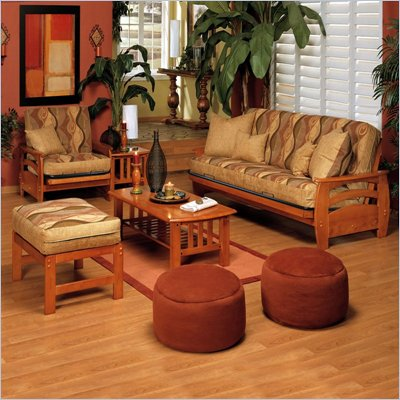 Elite Products Montego Futon Set in Honey Oak
