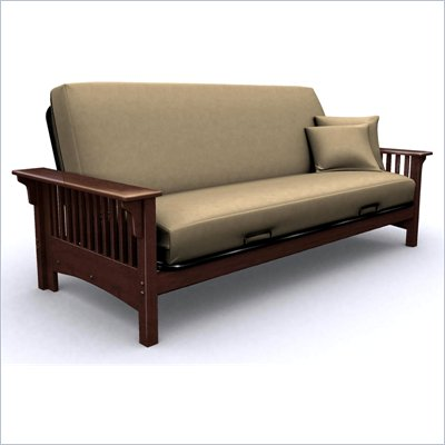 Elite Products Santa Barbara Full Wood Futon Frame in Walnut
