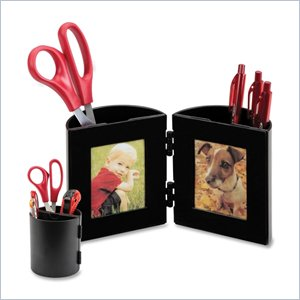 Deflect-o Pencil Cup With Photo Frame
