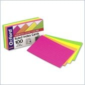 Esselte Assorted Glow Ruled Index Card