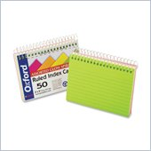 Oxford Spiral Bound Neon Index Card