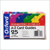 Esselte A-Z Durable 1/5 Cut Tab Poly Card Guide