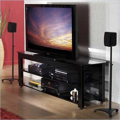 Sanus Lowboy 65&quot; Black Three-Shelf Widescreen TV Stand 