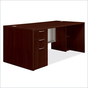 HON Attune Laminate Series Pedestal Desk with Frosted Doors