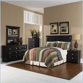 Standard Carlsbad Full / Queen Wood Panel Headboard 5 Piece Bedroom Set in Dark Pecan