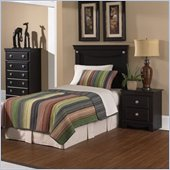 Standard Carlsbad Youth Twin Wood Panel Headboard 5 Piece Bedroom Set in Dark Pecan