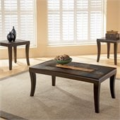 Standard Laguna Coffee and End Table Set w/ Slate Top and Glass Inserts