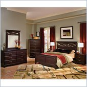 Standard City Crossing Wood Panel Bed 5 Piece Bedroom Set in Cherry