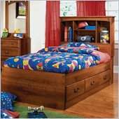 Standard City Park Kids Twin Wood Captain's Bed 4 Piece Bedroom Set in Cherry