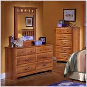 Standard City Park Kids Double Dresser and Mirror in Cherry Finish