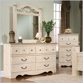 Standard Seville Double 6 Drawer Dresser and Mirror in White