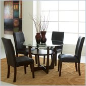 Standard Furniture Apollo Round Glass Dining Table in Merlot