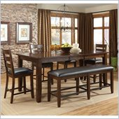 Standard Furniture Abaco 6 Piece Dining Set with Leaf in Tobacco Brown