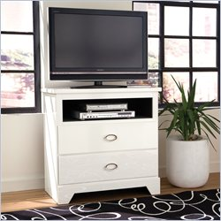 Standard Furniture Meridian TV Chest in White Sheen