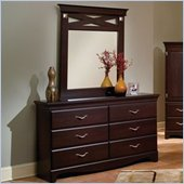 Standard City Crossing Cherry Double Dresser and Mirror Set