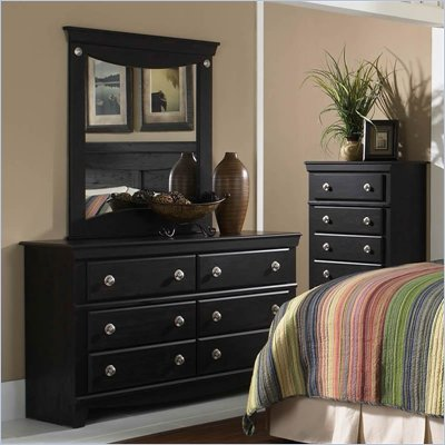 Standard Carlsbad Double Dresser and Mirror in Dark Pecan