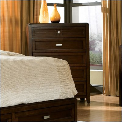  Standard City Gazebo II Single 5 Drawer Chest in Dutch Chocolate Brown Finish 