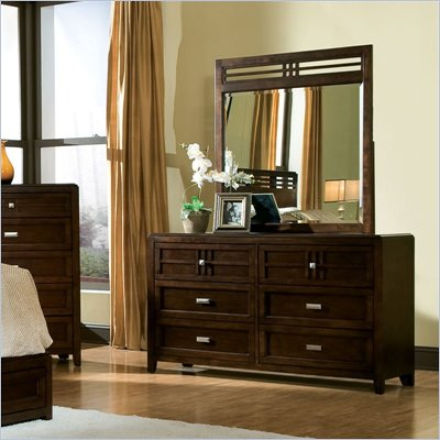 Standard City Gazebo II 2 Piece Mirror and Dresser in Dutch Chocolate Brown Finish