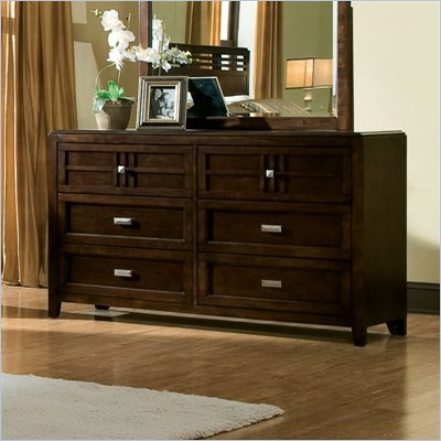  Standard City Gazebo II Double 6 Drawer Dresser in Dutch Chocolate Brown Finish 