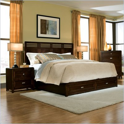 Standard City Gazebo II 2 Piece Panel Bed and Nightstand in Dutch Chocolate Brown Finish