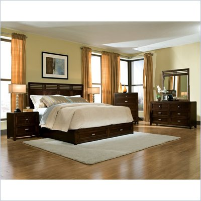  Standard City Gazebo II 5 Piece Panel Bedroom Set in Dutch Chocolate Brown 