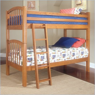 Standard City Park Kids Twin over Twin Bunk Bed 4 Piece Bedroom Set in Cherry