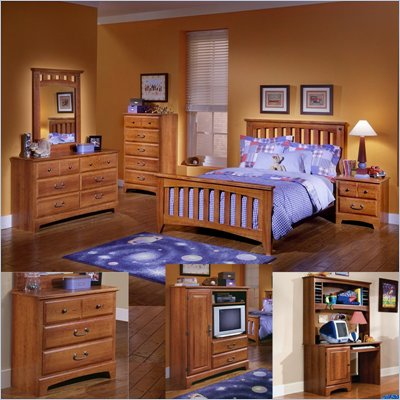 Standard City Park Kids Wood Slat Bed 7 Piece Bedroom Set in Cherry
